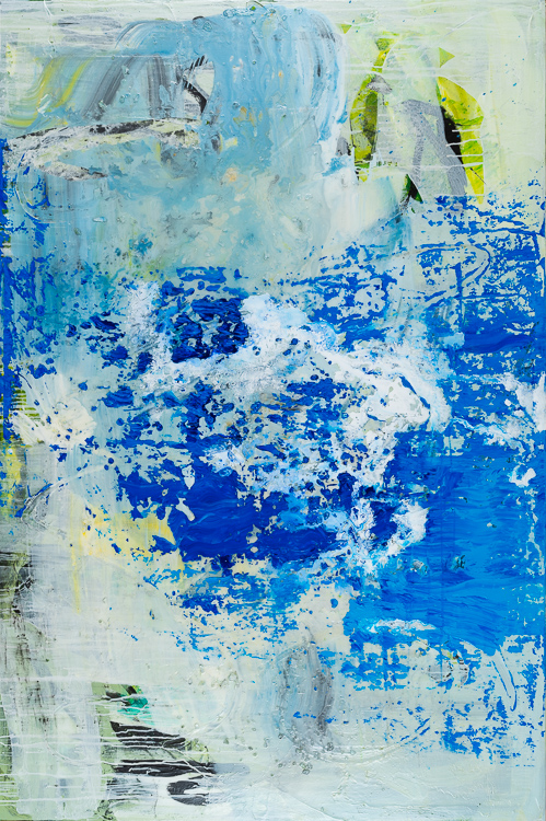 Large blue contemporary abstract painting