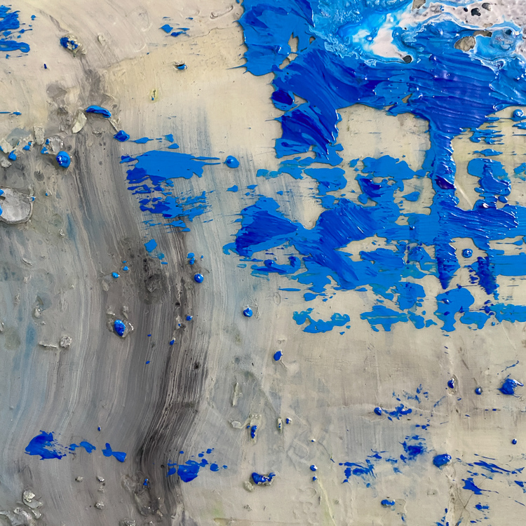 large blue contemporary urban abstract painting detail3