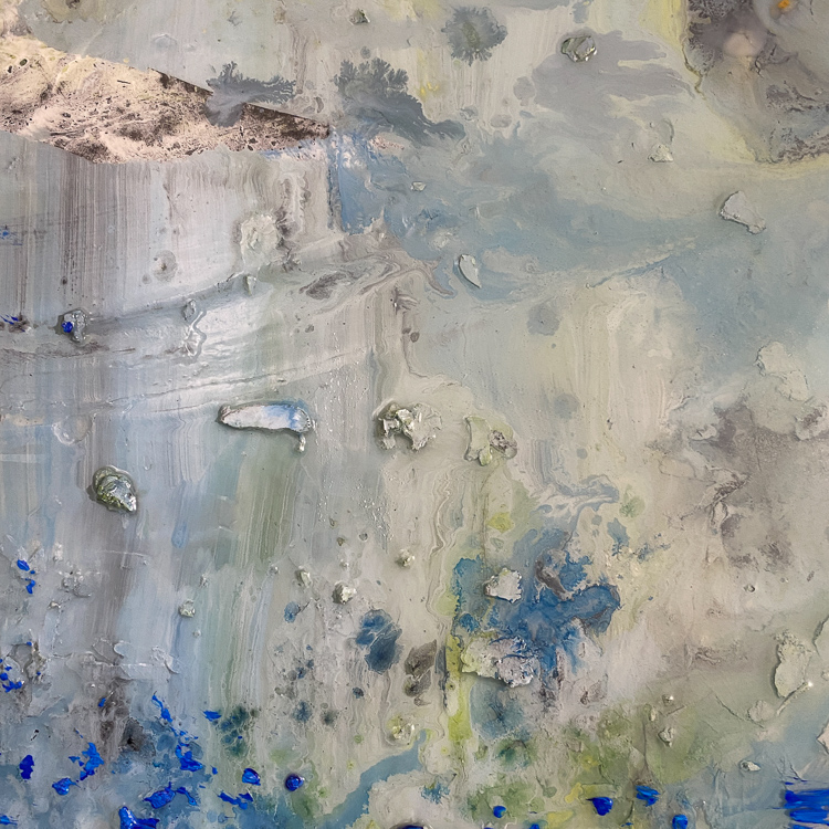 large blue contemporary urban abstract painting detail4
