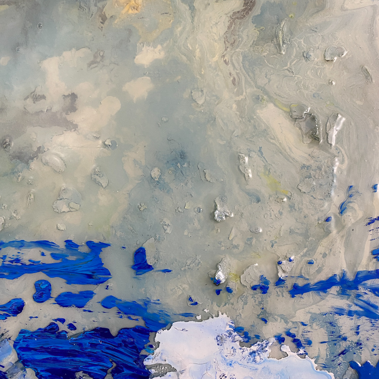 large blue contemporary urban abstract painting detail5