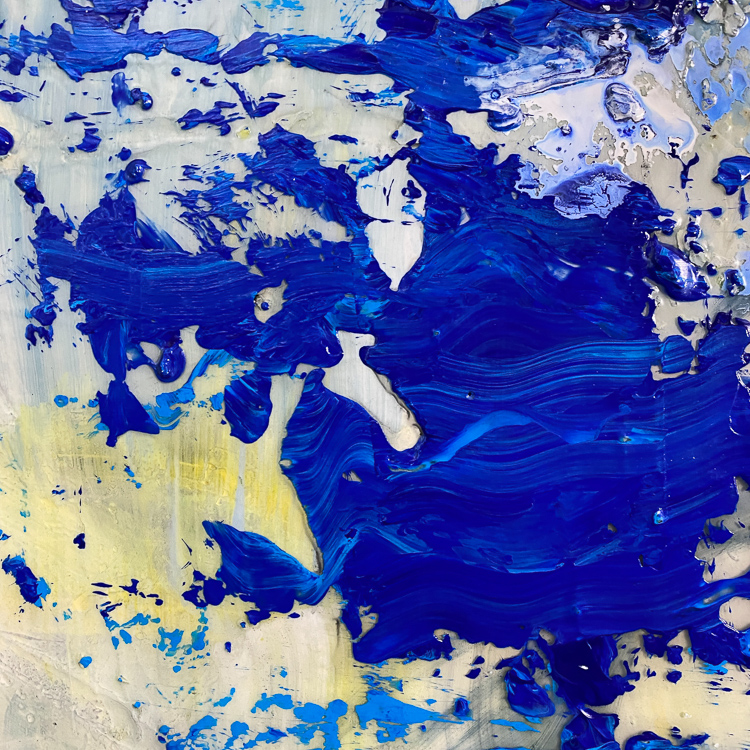 large blue contemporary urban abstract painting detail6