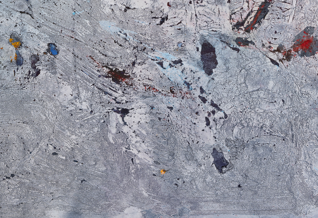 Large blue gray contemporary minimalist urban abstract painting colorful accents Los Angeles artist Laura Letchinger BRIGHT SPOTS detail 4